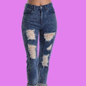 Denim - Distressed High Waist Jeans